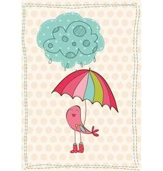 autumn birds card vector image vector image
