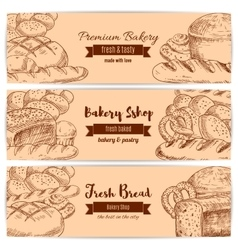 Bakery shop bread sketch banners set vector