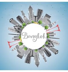 Bangkok skyline with gray landmarks blue sky vector