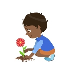 Boy planting a flower vector