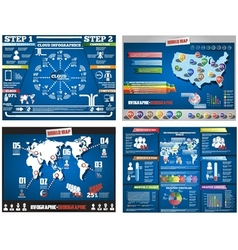 COLLECTION OF FOUR INFOGRAPHICS DEMOGRAPIC WORLD vector image