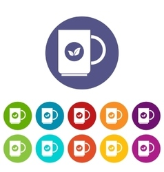Cup of tea set icons vector image vector image