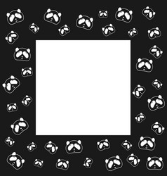 Cute panda bear frame design black and white vector