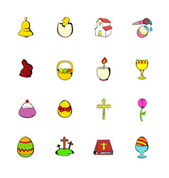 easter set icons set cartoon vector image