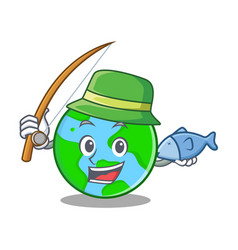 fishing world globe character cartoon vector image