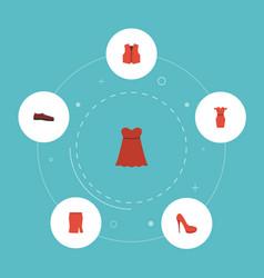 Flat icons heeled shoe sundress waistcoat and vector
