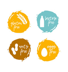 food labels - allergens food intolerance symbols vector image