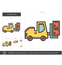 forklift line icon vector image