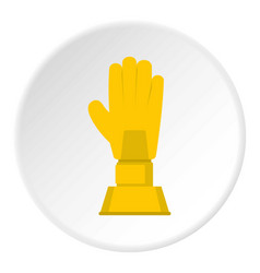 Golden baseball glove trophy icon circle vector