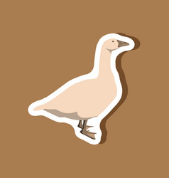 goose paper sticker on stylish background vector image