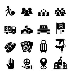 Immigration immigrant refugee icon set vector