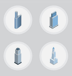isometric construction set of tower building vector image