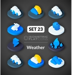 Isometric flat icons set 23 vector