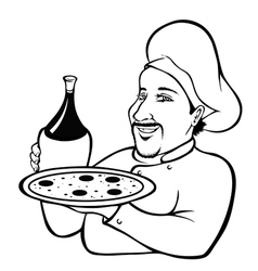 Italian chef outline vector image vector image