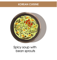 Korean cuisine bean sprout soup traditional dish vector