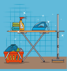 Laundry basket and ironing board vector