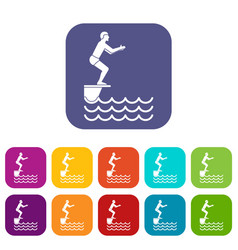man standing on springboard icons set vector image vector image
