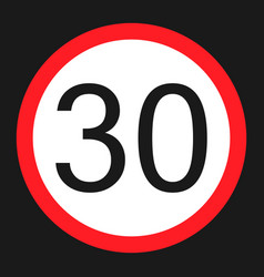 Maximum speed limit 30 sign flat icon vector