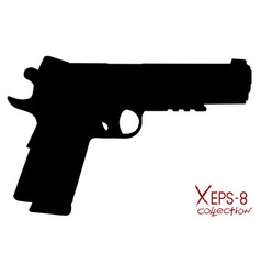 Modern black pistol silhouette isolated on white vector