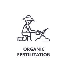organic fertilization line icon outline sign vector image