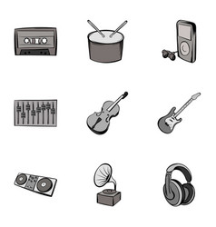 playing song icons set gray monochrome style vector image vector image