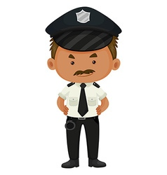 Policeman in black and white uniform vector