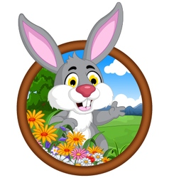 rabbit cartoon in frame vector image vector image