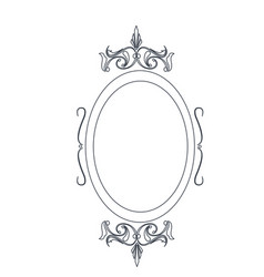 Retro oval frame classic ornate element line vector