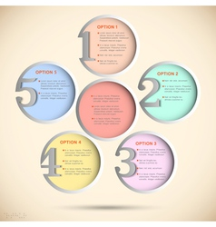 Round numbered banners in pastel colors vector image