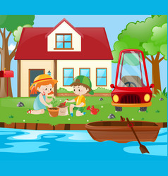 Scene with kids planting at home vector