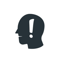 simple business exclamation head icon design vector image