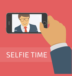 Taking selfie photo on smart phone vector