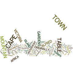 The magic of cape town text background word cloud vector