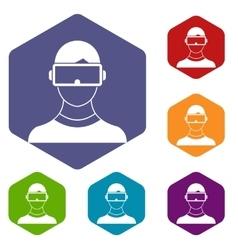 Virtual 3d reality goggles icons set vector