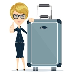 Woman with big suitcase vector