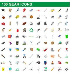 100 gear icons set cartoon style vector image vector image