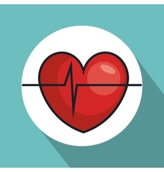 Heart with pulse line isolated icon vector