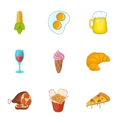 Calorie food icons set cartoon style vector