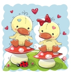 Two cute cartoon ducks vector