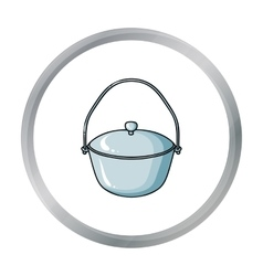Camping pot icon in cartoon style isolated on vector