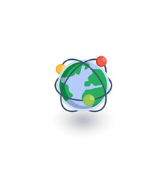 Global communication network internet isometric vector