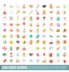 100 kids icons set cartoon style vector image