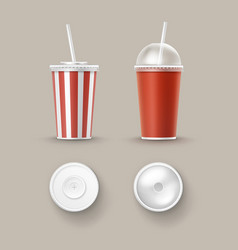 set of cups for soft drinks vector image
