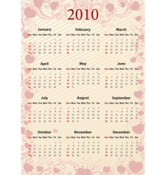 American pink calendar with hearts vector image