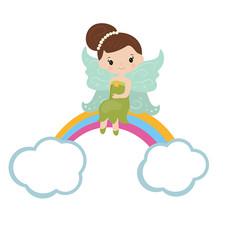 cartoon fairy sitting on the rainbow cartoon vector image