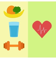 Healthy food water and sport vector
