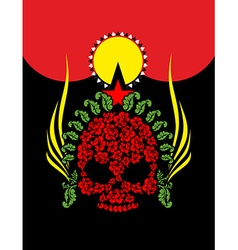 Skull roses flowers and star fantastic totem vector
