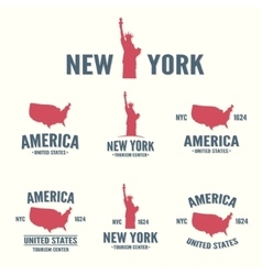 Collection of new york america usa icon or logo vector