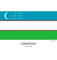 National flag of uzbekistan with correct vector