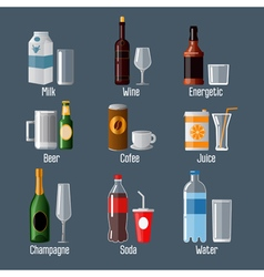 Set of different drinks in ware vector